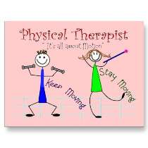 Physical Therapist Stick People Keep Moving Post Card by gailg1957