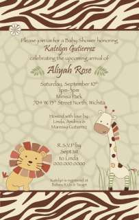 24 Printed CoCaLo Nali Jungle Baby Shower Invitation   Neutral   Lion