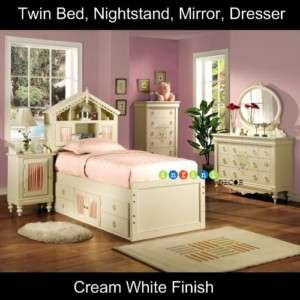 Children Bedroom Set Furniture White Twin Size Girl Bed