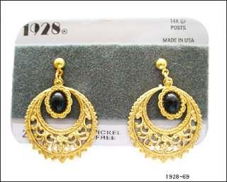 1928 JEWELRY BLACK STONE GOLD DROP DANGLE EARRINGS NEW