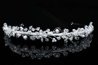 Bridal Flower Rhinestone Crystal Pearl Wedding Headband Tiara 8792