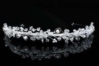 Bridal Flower Rhinestone Crystal Pearl Wedding Headband Tiara 8792