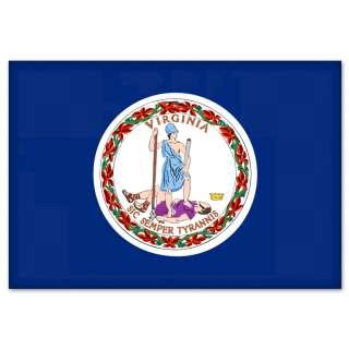 Virginia State Flag car bumper sticker 5 x 4