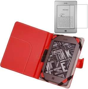 Premium Red Leather Case Cover for  Kindle Touch Reader+Screen