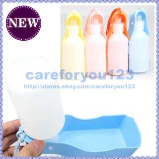 Portable Plastic Feeding Bowl Dog Cat Travel Pet Water Bottle Bowl