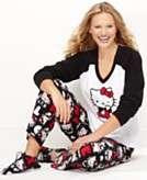 Hello Kitty Pajamas, Fleece Top, Pants and Slippers Set