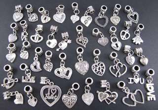 40pcs Tibetan Silver Mix Style Heart Charms Beads Fit European