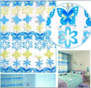 window drapes Blue Butterfly Kids Curtains for child beauty.pvc