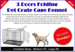 Three Door Metal Folding Dog Crate Cage Kennel With Divider  48