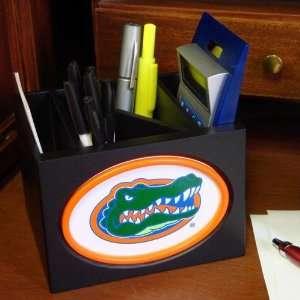 Gators Black Wooden Team Logo Desktop Organizer: Sports & Outdoors