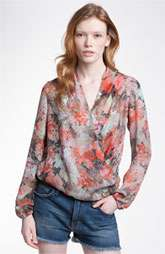 New Markdown Haute Hippie Love Her Madly Print Silk Surplice Blouse