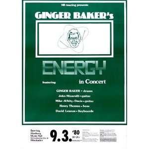 Ginger Baker   Energy 1980   CONCERT   POSTER from GERMANY