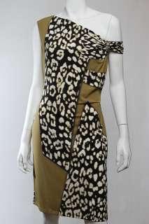 Roberto Cavalli Green White Prints Jersey Dress Sz 44 M