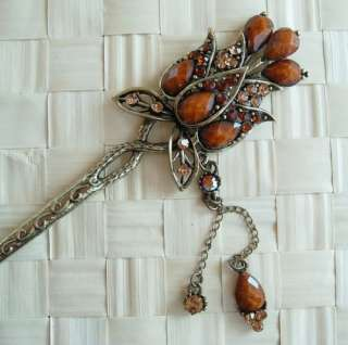 SWAROVSKI CRYSTAL BRONZE DANGLE FLOWER HAIR STICK PIN PICK 652