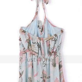 Fashion Womans Womens Ladies Sexy Halter Bohemia Chiffon Long Dress
