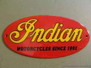 SUPERB QUALITY OLD INDIAN MOTORCYCLE MOTOR BIKE ENAMEL SIGN PLAQUE