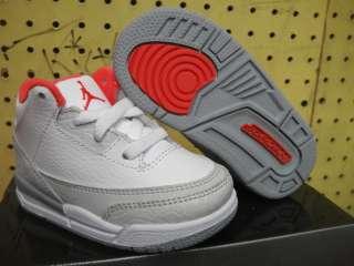 Nike Jordan 3 White Grey Red Shoes Infant Toddler 9.5