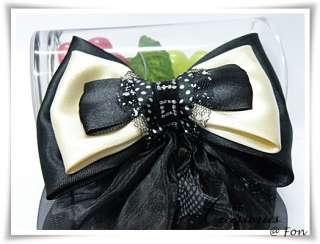 Satin Black White Bow Barrette Snood Hair Net Hair Band