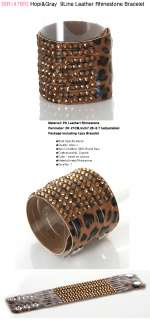 BR2147BR/Brown Leopard Rhinestone Leather Bracelet