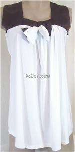 New Coqueta Maternity Womens Clothes White Brown Tank Top Shirt Blouse