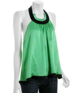 by Allen Schwartz kelly green silk halter top   up to