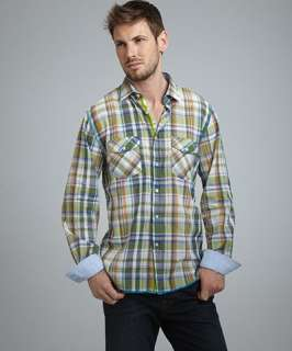Arnold Zimberg green plaid cotton button front pocket shirt