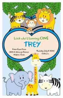 Set of 10 Safari Jungle Kids Personalized Invitations