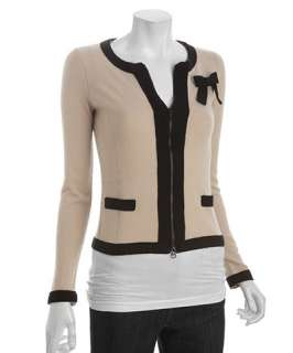Autumn Cashmere sand dollar and black cashmere zip front bow cardigan
