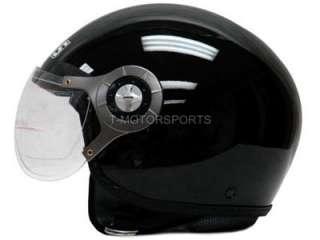 MOTORCYCLE SCOOTER OPEN FACE HELMET JET PILOT BLACK ~L