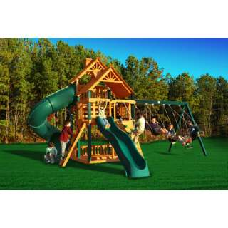 Blue Ridge Retreat Wooden Gym Play Center and Swing Set Outdoor Play