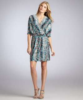 Laundry by Shelli Segal bermuda blue printed jersey belted wrap dress