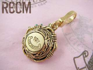 JUICY COUTURE PAVE BLUE BIRD NEST EGGS GOLD CHARM