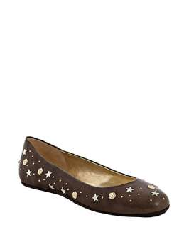 Jimmy Choo dark taupe leather Western star studded flats