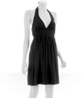 Susana Monaco black pleated halter dress