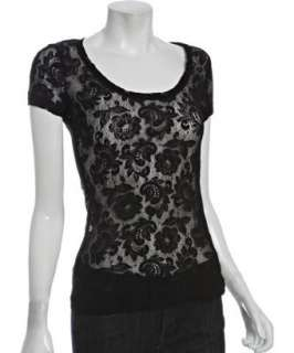 Three Dots black lace scoop neck t shirt