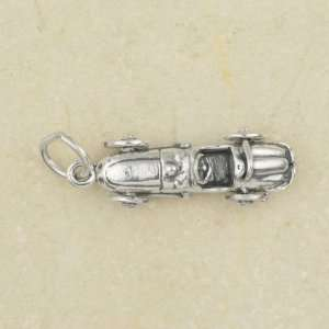 RACE CAR Moveable Wheels STERLING SILVER Charm