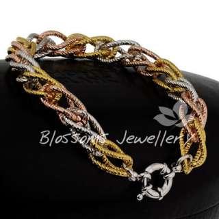 9K 9ct Three Tone GOLD GF Ring Multi Link WOMENS BRACELET 34.9g S24D