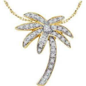 14kt Yellow Gold Natural Diamond Palm Tree Beach Nautical Pendant .25