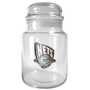 Sports NBA NETS 31oz Glass Candy Jar   Primary Logo/Clear