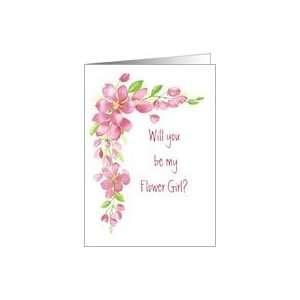 Cherry Blossom Pink   Flower Girl Wedding invite Card