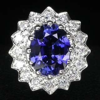 RESPLENDANT TOP ROYAL BLUE & WHITE SAPPHIRE 925 SILVER RING