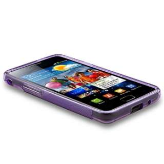Clear Purple TPU Case+Screen Protector For Samsung Galaxy S2 i9100 SII