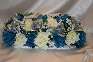 Bridal Bouquet Package Turquoise Silver Centerpiece Silk Flower