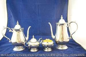 Rogers By Oneida Ltd. Silver Tea Coffee Sugar Bowl Creamer Pot