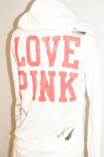 NWT Victorias Secret LOVE PINK Rhinestone Bling Hearts Peace Sign