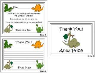Dinosaur kids Birthday Party Personalized Thank You Note Cards