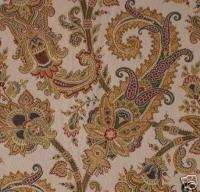 6yds Paisley Gold Jeweltone Brocade Upholstery Fabric
